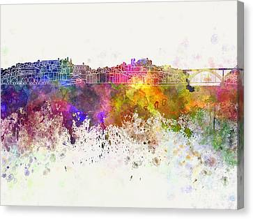 Porto Skyline In Watercolor Background Canvas Print