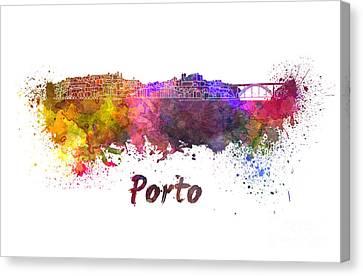 Porto Skyline In Watercolor Canvas Print