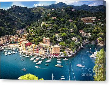 Portofino Birds Eye View Canvas Print by George Oze