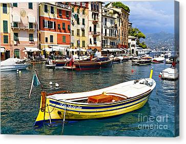 Portofino Boats Canvas Print by George Oze