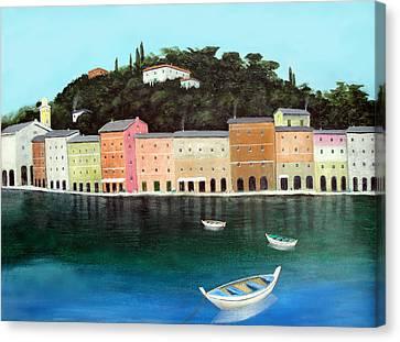 Portofino By The Sea Canvas Print by Larry Cirigliano