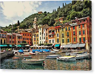 Portofino Italy Canvas Print - Portofino Harbor 2 by Allen Beatty