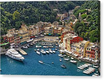 Portofino Harbor From Above Canvas Print by George Oze