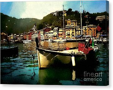 Port Town Canvas Print - Portofino Harbour by Barbara D Richards