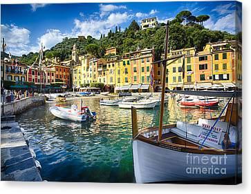 Portofino Inner Harbor Canvas Print by George Oze