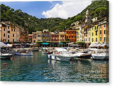 Portofino Inner Harbor View Canvas Print by George Oze