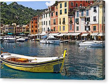 Portofino Inner Harbor View With Small Boats Canvas Print by George Oze