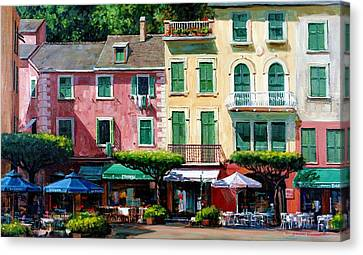 Portofino Cafe Canvas Print - Portofino by Michael Swanson