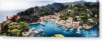 Portofino Panorama Canvas Print by George Oze