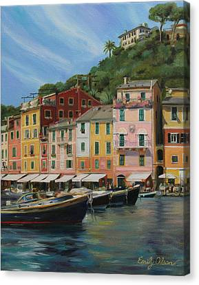 Portofino Cafe Canvas Print - Portofino Summer by Emily Olson