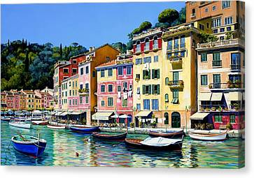 Portofino Cafe Canvas Print - Portofino Sunshine Sold by Michael Swanson
