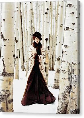 Karen Elson Models Gaultier Canvas Print by Arthur Elgort