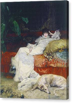 Portrait De Sarah Bernhardt Canvas Print by Celestial Images