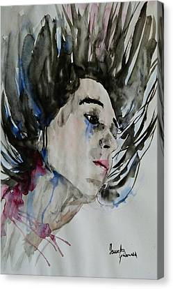 Canvas Print featuring the painting Portrait- Girl by Ismeta Gruenwald