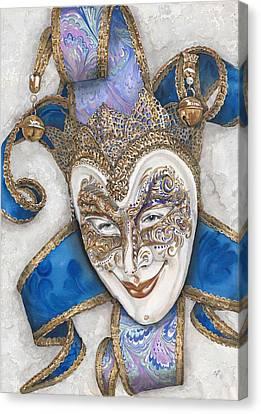 Portrait In Jester Mask - Venice - Acryl - Elena Yakubovich Canvas Print by Elena Yakubovich