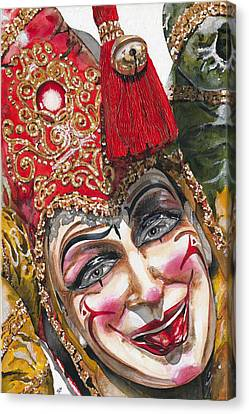 Portrait In Red Venetian Mask - Venice - Acryl - Elena Yakubovich Canvas Print by Elena Yakubovich