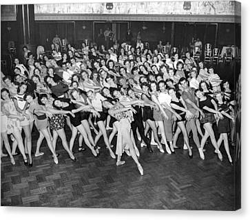 Portrait Of A Dance Group Canvas Print by Underwood Archives