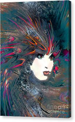 Portrait Of A Flamboyant Woman Canvas Print by Doris Wood
