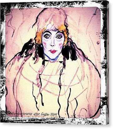 Portrait Of A Lady En Face After Gustav Klimt Canvas Print