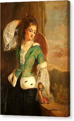 Portrait Of A Lady In A Green Jacket Canvas Print