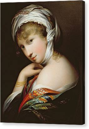 Portrait Of A Lady In Eastern Dress Canvas Print by English School