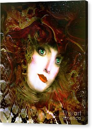 Portrait Of A Lady With A Red Hat Canvas Print by Doris Wood