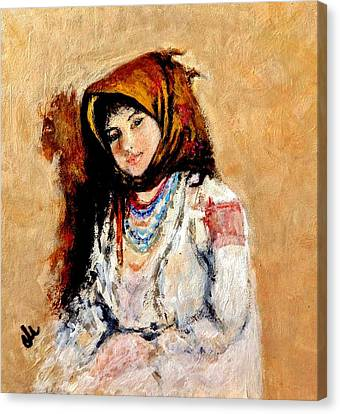 Portrait Of A Little Peasant Girl.. Canvas Print by Cristina Mihailescu