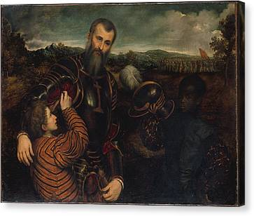Portrait Of A Man In Armor With Two Canvas Print