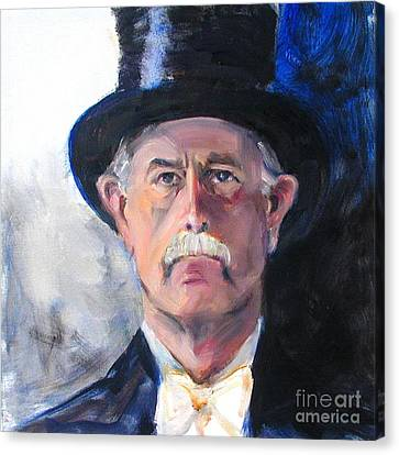 Canvas Print featuring the painting Portrait Of A Man In Top Hat by Greta Corens