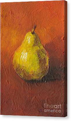Portrait Of A Pear Canvas Print by Sandy Linden
