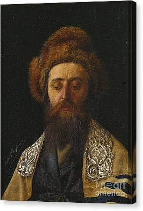 Portrait Of A Rabbi With Tallit Canvas Print by Celestial Images