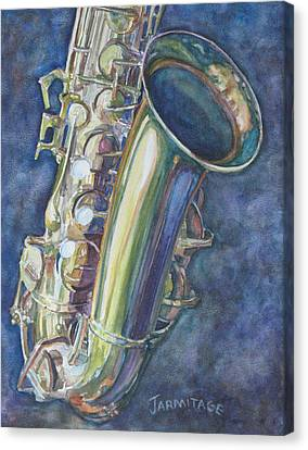 Portrait Of A Sax Canvas Print by Jenny Armitage