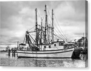 Portrait Of A Shrimp Boat Bw Canvas Print