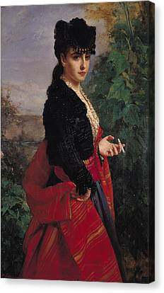Portrait Of A Spanish Woman Canvas Print by Heinrich Wilhelm Schlesinger
