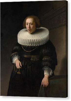 Portrait Of A Woman Canvas Print by Rembrandt van Rijn