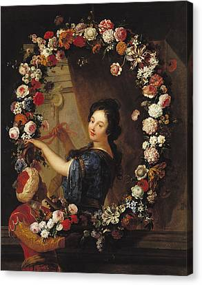 Portrait Of A Woman Surrounded By Flowers, Presumed To Be Julie Dangennes Oil On Canvas Canvas Print by J-B. Belin de Fontenay