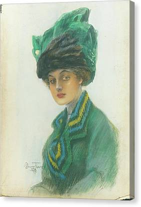 Half-length Canvas Print - Portrait Of A Woman Wearing A Green Gown by Stuart Travis