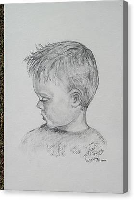 Portrait Of A Young Boy Canvas Print by Paula Rountree Bischoff