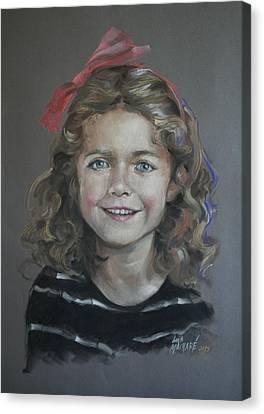 Portrait Of A Young Girl Canvas Print by Mary Machare
