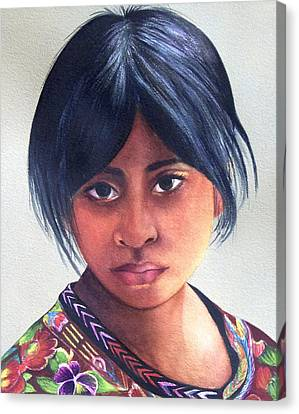 Portrait Of A Young Mayan Girl Canvas Print