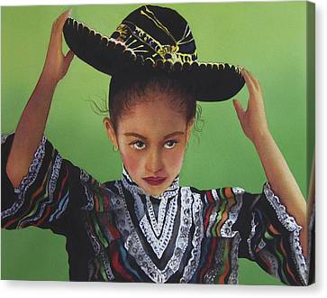 Portrait Of A Young Mexican Girl Canvas Print