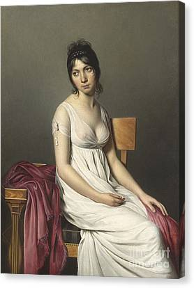 Portrait Of A Young Woman In White Canvas Print by Jacques Louis David