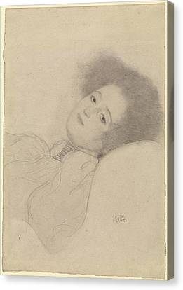 Portrait Of A Young Woman Reclining Gustav Klimt Canvas Print by Litz Collection