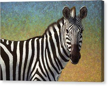 Zebra Canvas Print - Portrait Of A Zebra by James W Johnson