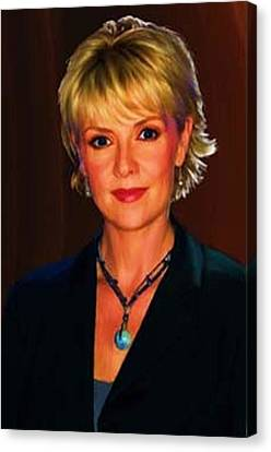 Portrait Of Amanda Tapping Canvas Print by P Dwain Morris
