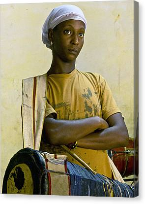 Portrait Of An Afro-cuban Drummer Canvas Print