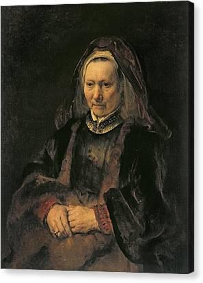 Portrait Of An Elderly Woman, C. 1650 Canvas Print by Rembrandt Harmensz. van Rijn