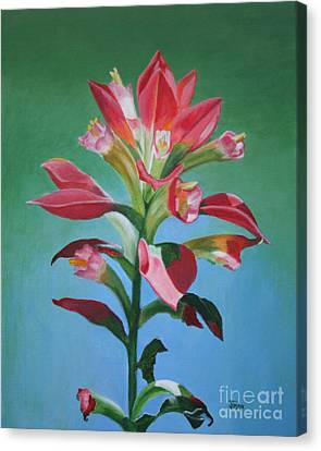 Canvas Print featuring the painting Portrait Of An Indian Paintbrush by Jimmie Bartlett