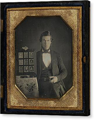 Portrait Of An Unidentified Daguerreotypist Displaying Canvas Print by Litz Collection