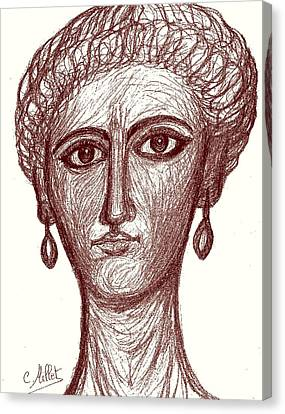 Portrait Of Ancient Roman Woman Inspired From Portraits Of Fayum Canvas Print by Cindy MILLET